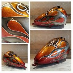 Blue Moon Kustoms Motorcycle Tank, New Tank, Airbrush Art, Red Candy, Pinstriping, Writing Styles, 8th Of March, Car Painting, Kustom