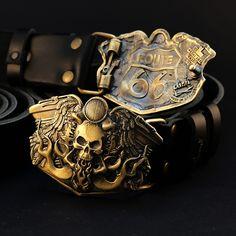 Leather belt with brass buckle Route Handmade biker solid brass belt buckle with motorcycle and skull Gold Belt Buckle, Brass Belt Buckles, Bikers, Solid Brass, Belts, Ann, Cufflinks, Skull, America