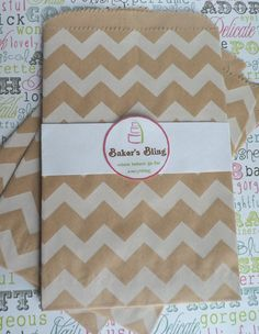 brown paper bags for a candy buffet | 50 Kraft Brown Chevron Paper Bags for Candy Bars, Favors and Packaging ...