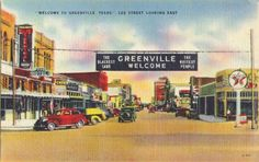 vintage postcard greenville texas downtown vintage postcards texas and lone star state. Black Bedroom Furniture Sets. Home Design Ideas