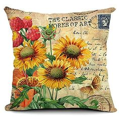 Moslion Sunflower Pillow,Home Decorative Throw Pillow Cover Vintage Flower with Letter Cotton Linen Cushion for Couch/Sofa/Bedroom/Livingroom/Kitchen/Car 18 x 18 inch Square Pillow case Decorative Pillow Cases, Throw Pillow Cases, Decorative Throw Pillows, Decorative Accents, Sofa Throw, Linen Pillows, Cushions On Sofa, Linen Sofa, Couch Sofa