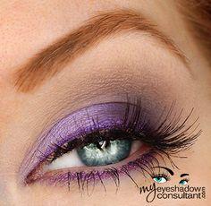 MAC eyeshadows used: Beautiful Iris (inner half of lid) Indian Ink (outer half of lid) Copperplate (crease) Blanc Type (blend) MAC Pearlglide Eyeliner in 'Designer Purple' to line