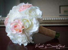 Wedding Bouquet White and Pink Burlap Rose Silk Wedding Bouquet Rustic Shabby Chic Bridal Bouquet by Kate Said Yes Weddings