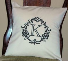 Pillow Cover Damask Initial K Natural Pillow Cover-Cotton