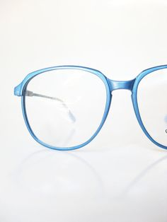 8f96b9046a Metallic Blue Eyeglasses 1970s Oversized Womens Ladies Glasses Eyeglass  Frames Round Ice Baby Frost Shiny Optical