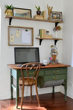 vintage home decor An antique bakers table becomes a desk by removing one of the flour drawers. Vintage modern office with open shelves and farmhouse boho vintage feel. Dark green desk with natural wood top desk via Refresh Living. Home Office Space, Modern Home Office, Vintage Home Decor, House Interior, Cheap Office Furniture, Trendy Home, Home Office Furniture, Home Office Decor, Home Decor