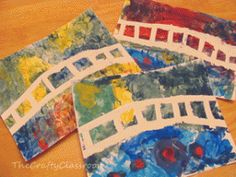 monet art lesson...good idea to reinforce color theory and warm/cool colors.