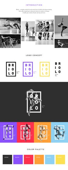 Briolo – a modern school of art, the main focus of which is the dance training… Logo Branding, Branding Design, Logo Design, School Logo, Art School, R Color Palette, Creative Logo, Creative Art, Inspiration Wand