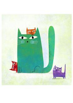 Affiche, Les quatre chats de toutes les couleurs A123 : Affiches, illustrations, posters par la-parenthese-enchantee
