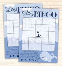Ships Ahoy It's a Boy Baby Blue Whale Baby by DaniellesDesignss Baby F, Baby Blue, Bingo Board, Baby Bingo, Blue Whale, Boys, Ships, Handmade, Baby Showers