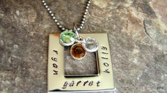 Square Washer Necklace Personalized by BellaDonnaJewelryCo on Etsy, $22.00