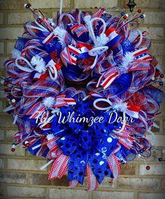Patriotic Wreath, Americana Wreath, Memorial Wreath, 4th of July Wreath, Patriotic Decoration, Americana Decoration Wreath, USA Wreath by TheWhimzeeDoor on Etsy