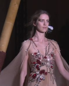 Stunning Embroidered Beige Backless Slit Sheath Evening Maxi Dress / Evening Gown with Long Sleeves, Open Back and a Train. Couture Spring Summer 2018 Collection Runway by Zuhair Murad Elegant Dresses For Women, Dressy Dresses, Prom Dresses, Wedding Dresses, Hijab Evening Dress, Evening Dresses, Girls Fashion Clothes, Fashion Dresses, Special Dresses