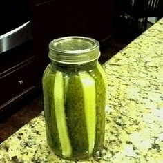 Yummy Dill Pickles  8-10 lbs cukes  Brine 1 qt white vinegar 3 qts water 1 cup canning salt  Cut pickles in quarters lengthwise and pack in hot sterilized qt jars. Add 2 cloves garlic, 2 heads of dill or 2 tsp of dill seed and 1dried red pepper. Boil brine solution and pour into jars. Seal with canning lids that have been sterilized in boiling water. Put jars in pantry for 3 weeks for flavor to develope.