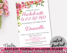 Bachelorette Weekend Invitation Bridal Shower Bachelorette Weekend Invitation Spring Flowers Bridal Shower Bachelorette Weekend UY5IG #bridalshower #bride-to-be #bridetobe