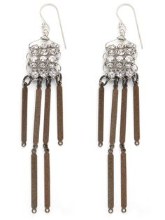 Tony meets tough-chic. These chandelier earrings temper the hyper-glitz of rhinestone glamour with metal fringe accents, which also carry a whiff of South Asian appeal.