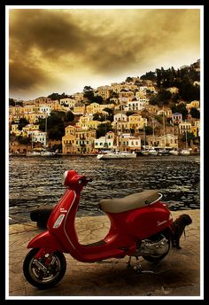Red scooter Symi