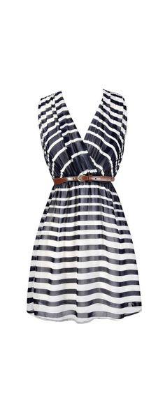 Lucky Stripe Belted Dress in Navy