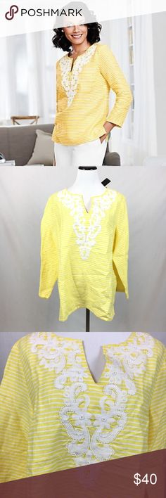 "Talbots yellow striped beaded embroidery tunic Stunning! Talbots women's striped embroidered beaded tunic. yellow and white. 100% linen. size large! NEW WITH TAGS!  Armpit to armpit-22"" overall length-26.5"" Talbots Tops Tunics"