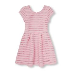 Girls Short Cap Sleeve Stripe Jacquard Mesh Flare Dress