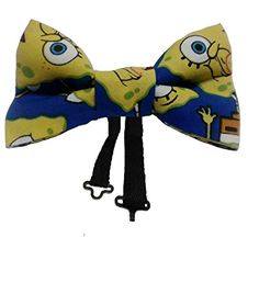 SpongeBob SqurePants Clip on Pretied Bow Tie Cotton, Ages 2 to 5. This bow tie has the logo of the cartoon character SpongeBob SquarePants. SpongeBob is a fictional TV series and he lives in the sea with his friends learning about different things in life. Recommended ages are 2 to 5 years. Measurements are 4 x 1.75 inches. The bow tie is double layered and boys and girls both can wear it. This pre-tied cotton bow tie has been meticulously handcrafted and is double layered. Ties are great...