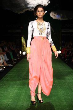 Fan print lycra bodysuit with Pink dhoti skirt