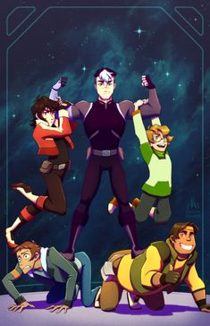 Lance, Pidge, Keith, Shiro and Hunk. Shiro, go super dad!