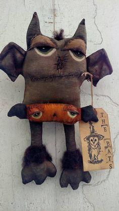 The Bats Halloween Primitive Handmade Handpainted Decoration Spooky Scary by UrbanHandmade1 on Etsy