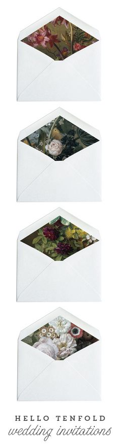 Choose from over 100 envelope liner patterns, like these dark, romantic painted florals, when you order wedding invitations from Hello Tenfold.