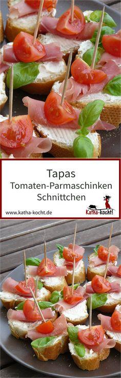 Diese kleinen Schnittchen sind perfekt für euren nächsten Tapasabend oder als kleine Häppchen auf dem Party Buffet. Die kleinen Tapas mit Tomaten und Parmaschinken sind schnell gemacht und absolut unkompliziert vorzubereiten. Das Rezept gibt es auf katha-kocht!