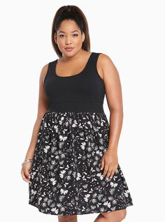 BUTTERFLY KNIT TO WOVEN DRESS #plussize #dress #style #outfit #trend #onlineshop #shoptagr