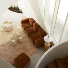 Home Living Room, Living Room Designs, Living Room Decor, Living Room New York, Geometric Furniture, Ottoman Sofa, Best Decor, Three Seater Sofa, Sofa Styling