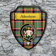 Aikenhead Plaque with Scottish Clan Badge on Clan Tartan Background by YourCustomStuff on Etsy https://www.etsy.com/listing/261969387/aikenhead-plaque-with-scottish-clan