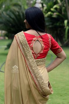 Looking for latest blouse back neck designs for silk sarees? Here are trendy models to try with your pattu sarees and look graceful! Blouse Back Neck Designs, Brocade Blouse Designs, Pattu Saree Blouse Designs, Designer Blouse Patterns, Blouse Neck Designs, Sari Blouse, Stylish Blouse Design, Trendy Sarees, Silk Sarees