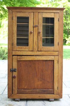 Antique Primitive Child Size Glass Front Diminutive Cupboard Cabinet
