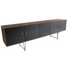 Fristho Sideboard Teak with Brass Details 1960's, Netherlands