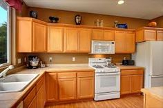 maple cabinets white appliances - Google Search
