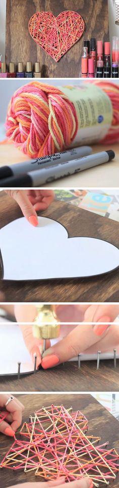 Heart String Nail Art   23 DIY Valentines Crafts for Boyfriend   DIY Valentines Room Decor Romantic Bedrooms