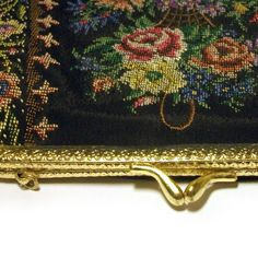Tapestry Evening Bag 1950s Silk Black Floral by hermitgold on Etsy