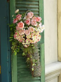 Dogwood and roses on green shutter (1) From: Content In A Cottage (2) Follow On Pinterest > Rosemary Beck @ Content in a Cottage