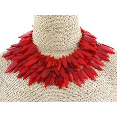 Monies 4 Strand Red Nail Necklace