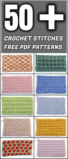 Crochet Stitches Free PDF Patterns - Yarn & Hooks Learn to make 50 and more beautiful crochet st Easy Crochet Stitches, Crochet Motifs, Tunisian Crochet, Crochet Basics, Knitting Stitches, Different Crochet Stitches, Crochet Doilies, Embroidery Stitches, Embroidery Patterns