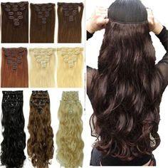 17インチ8 picecs厚いhairpicesナチュラルシルキー用女性フル毛延長熱い販売スタイル長い髪ブラウン黒