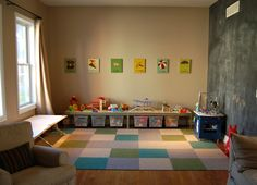 A formal dining room converted to a kids' playroom - smart!