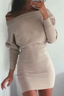 Skew Neck Packet Buttocks Sheath Dress KHAKI: Bodycon Dresses | ZAFUL