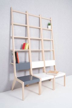 Object-b chair/ladder/bookcase by Sy design. I climb on a chair. I put books on a ladder. If things are freed from their own unique functions, we might agonize over how to use this objects. Wood Furniture, Modern Furniture, Furniture Design, Furniture Ideas, Resource Furniture, Antique Furniture, Multifunctional Furniture, Take A Seat, Chair Design