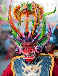 Colorful mask at a festival in Diablo Huma, Inca, Arte Popular, Folk, Native Art, Fabric Art, Dark Art, American Art, Archaeology