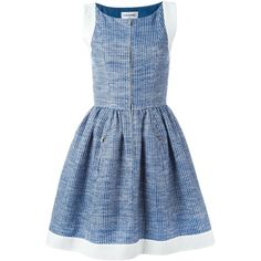 Pre-owned Chanel Vintage pleated A-line dress ($2,910) ❤ liked on Polyvore featuring dresses, chanel, blue, a line silhouette dress, chanel dresses, vintage dresses, chanel cocktail dresses and vintage cocktail dresses