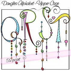 Dangles Alphabet - Upper Case is a whimsical watercolored alphabet with and without colorful dangles for a total of 52 letters. All of the letters are close to the same size but the length of the dangles varies. Alphabet A, Doodle Alphabet, Doodle Lettering, Creative Lettering, Lettering Styles, Doodle Fonts, Typography, Tangle Doodle, Tangle Art