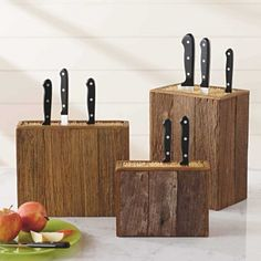 Reclaimed Wood Knife Blocks.  When we brought you our eco-savvy bamboo box knife holders, we triggered an avalanche of applause. Now, we've found the same food-safe interior skewers housed in a box made of weather-scarred reclaimed wood. Countrified on the outside and urban-smart within, our blocks save space while keeping blades safe and sharp.